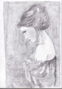 Picturi alb negru Inger trist