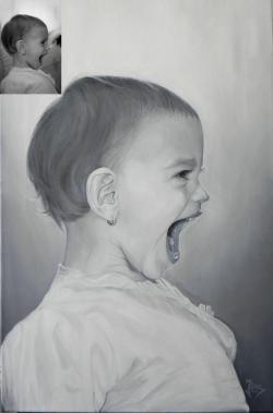Picturi alb negru Portret de copil