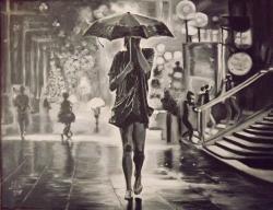 Picturi alb negru Fata in ploaie