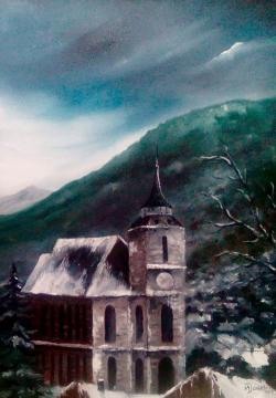 Picturi alb negru Brasov - biserica neagra