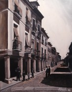 Picturi alb negru Piata cervantes,1960 alcala de henares,spania