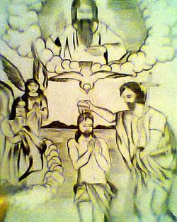Picturi alb negru Botezul Domnului de Mihaela