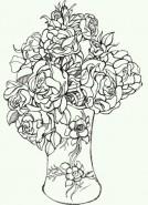 Picturi alb negru Trandafiri in vaza