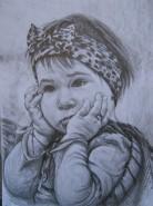 Picturi alb negru Micuta fetita