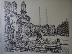Picturi alb negru Roma - Piazza Navona