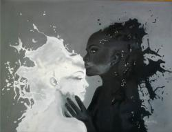 Picturi alb negru Doua surori