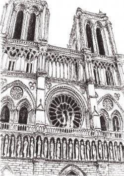 Picturi alb negru Catedrala Notre Dame
