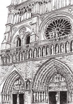 Picturi alb negru Catedrala Notre Dame Paris