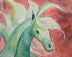 Picturi cu animale Calul Verde 02