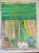 Picturi cu animale La fereastra casei