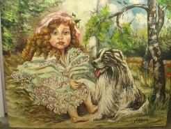 Picturi cu animale Fetita cu catelul