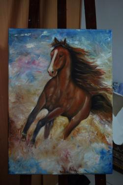 Picturi cu animale Cal la trap