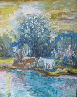 Picturi cu animale CAI SUB CLAR DE LUNA