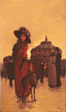 Picturi cu animale doamna si catelul