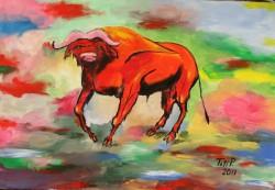 Picturi cu animale Bivol rosu