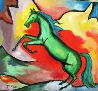 Picturi cu animale Cal verde