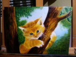 Picturi cu animale pisica in copac
