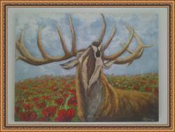 Picturi cu animale cerb in lan de maci