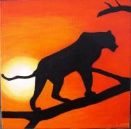 Picturi cu animale Silueta in apus de soare