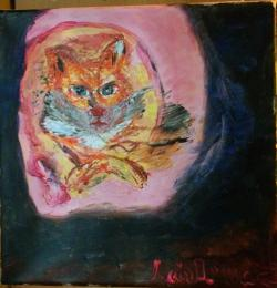 Picturi cu animale Pisica in cotet