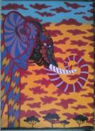 Picturi cu animale Elefant cu motive decorative africane