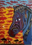 Picturi cu animale Zebra cu motive decorative africane
