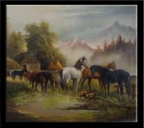 Picturi cu animale 1-saivana cu cai