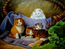 Picturi cu animale Patru motani 02