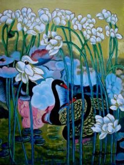 Picturi cu flori Tablou lebede1