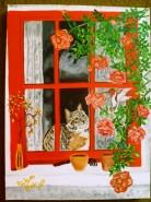 Picturi cu animale Carina la feriastra