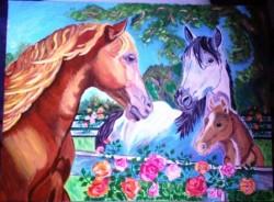 Picturi cu animale Familia de cai
