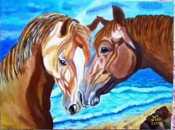 Picturi cu animale Sarutul cailor