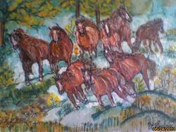 Picturi cu animale herghelie in padure