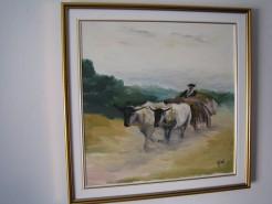 Picturi cu animale Reproducere car cu boi