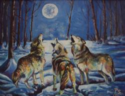 Picturi cu animale Chemarea la luna