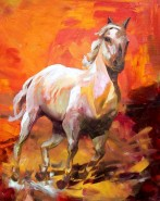 Picturi cu animale Cal pe fond rosu