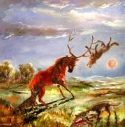 Picturi cu animale Cerbul incoltit de lupi