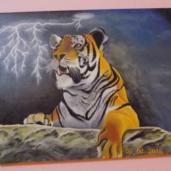 Picturi cu animale tigru speriat
