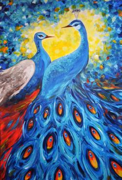Picturi cu animale Blue Peacocks in Love