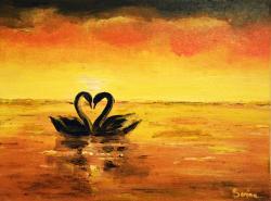 Picturi cu animale Swans at Sunset