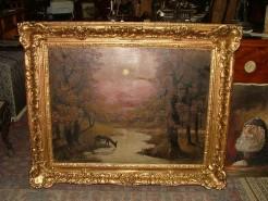 Picturi cu animale Tablou scena vinatoreasca cu caprior