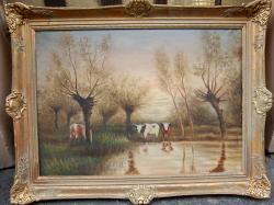 Picturi cu animale VACI LA BALTA