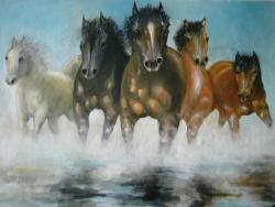 Picturi cu animale cai galopand in apa