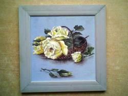 Picturi cu flori cos cu trandafiri galbeni 54