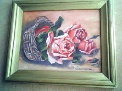 Picturi cu flori cosulet cu trandafiri