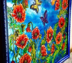 Picturi cu flori Vitraliu cu maci