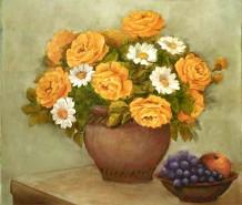 Picturi cu flori Trandafiri si margarete