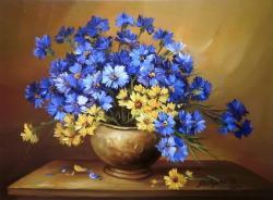 Picturi cu flori Albastrele in buchet