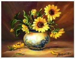Picturi cu flori BUCHET AURIU (1)