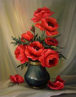 Picturi cu flori Buchet cu maci rosii